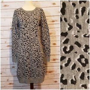 LOFT Animal Print Gray Sweater Dress